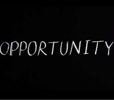 Opportunity written on a black background